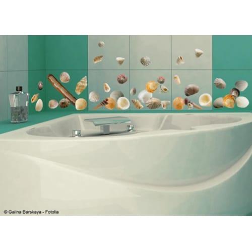 Stickers petits coquillages dans une salle de bain
