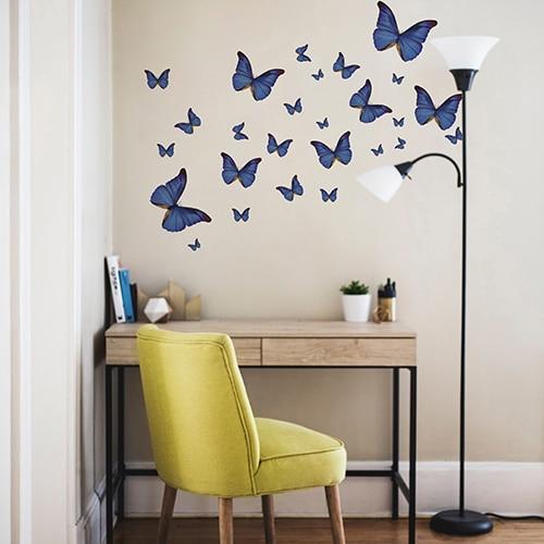 Stickers autocollants Papillons bleus au-dessus d'une table