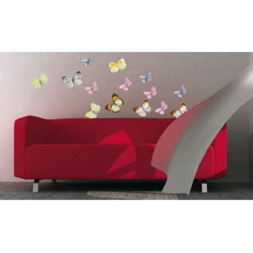 Stickers autocollants Papillons au-dessus d'un canapé rouge