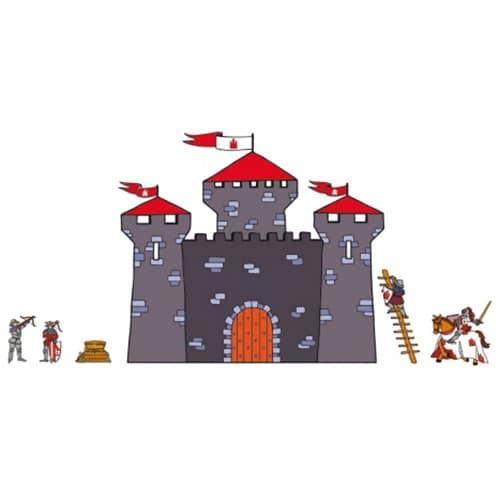 Sticker mural pour enfants chateau et chevaliers