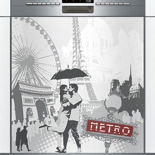 Stickers noir et blanc emblème de Paris lave-vaisselle