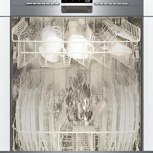 Sticker intérieur lave-vaisselle noir et blanc adhésif.