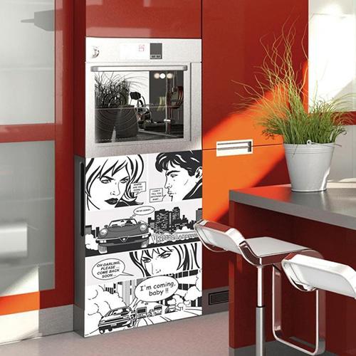 Stickers adhésifs Bande dessinée pour petit frigo cuisine