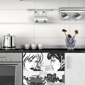 Stickers Bande dessinée pour frigo noir et blanc