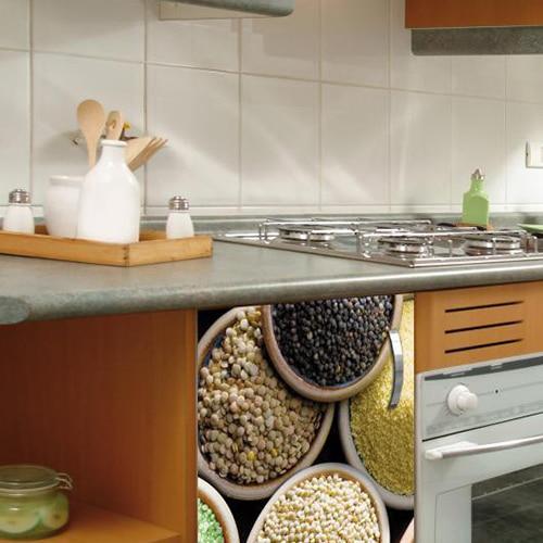 Stickers adhésif décoration pour petit frigo légumes secs