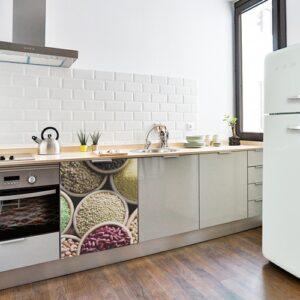 Stickers légumes secs en couleurs pour petit frigo décoration de cuisine