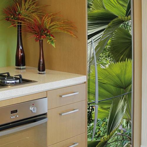 Nos stickers adhésifs pour frigo Feuilles Tropicales
