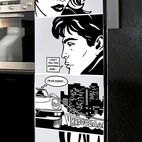 Stickers BD adhésifs pour pour porte de frigo