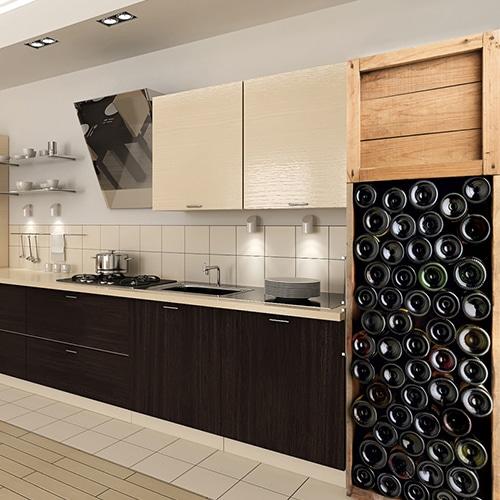 Sticker frigo adhésif bouteilles de vin