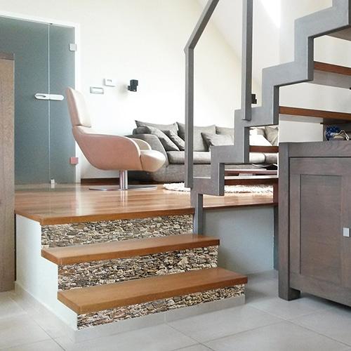 Sticker Vieilles Pierres pour contremarches d'escalier en bois