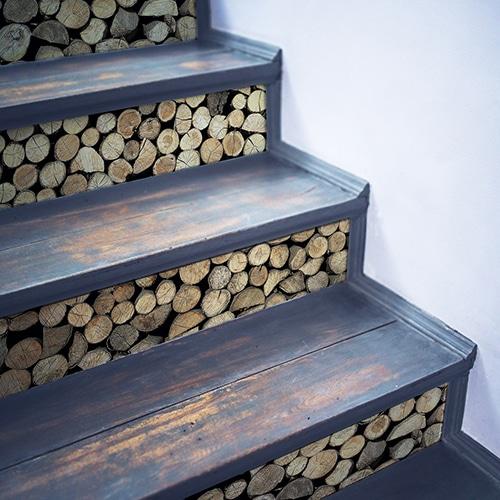Stickers Rondins de bois pour contremarches