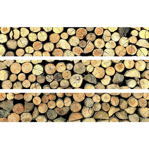 Stickers Rondins de bois pour contremarches d'escalier en bois gris