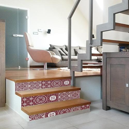 Sticker Ciment Rouge et blanc pour contremarches d'escalier en bois