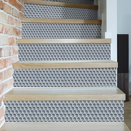 sticker nid d'abeille pour escalier