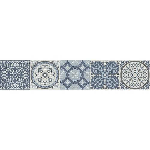 Sticker style mosaïque bleu pour contremarches d'escalier en bois