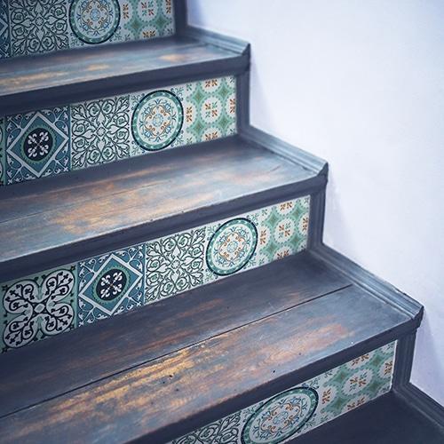 Sticker Evora autocollant pour contremarches d'escalier avec carreaux de ciment vert et bleu !