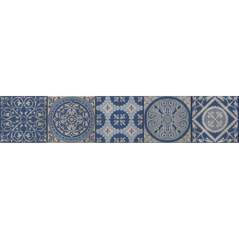 Sticker style mosaïque bleu pour contremarches d'escalier gris