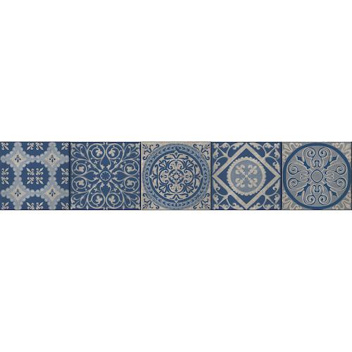 Décoration adhésive pour escalier, stickers contremarches carreaux de ciment bleu