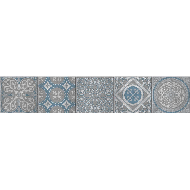 Sticker style mosaïque bleu turquoise pour contremarches pour escalier en bois clair