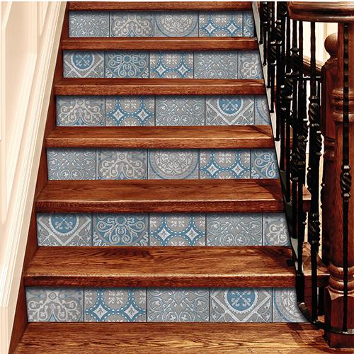 Sticker contremarches autocollante pour escalier avec carreaux de ciment Peristeri