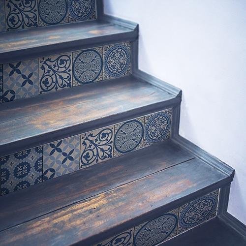 Sticker adhésif Benistes pour contremarches d'escalier carreaux de ciment