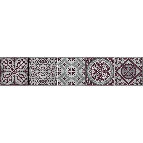 Contremarches adhésive pour escalier kefalos carreaux de ciment rouge et gris