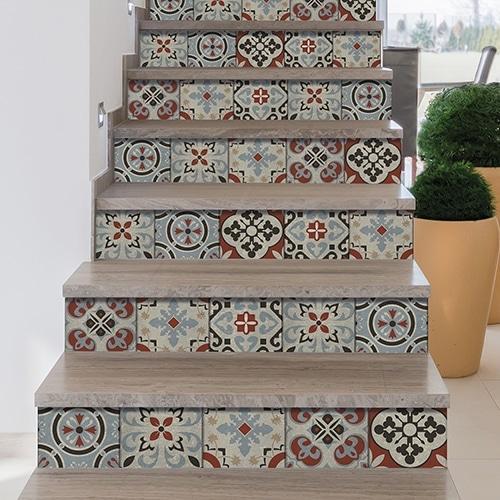 Autocollant de contremarche pour escalier style carreaux de ciment Ozzano