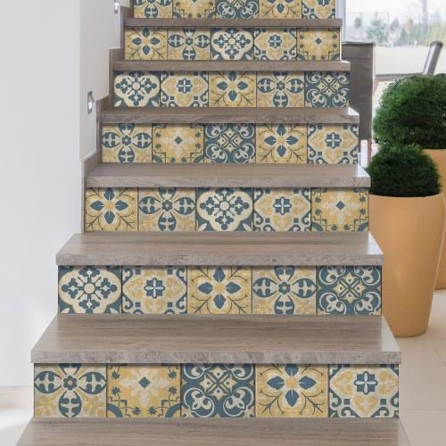 Rénover ou personnalisez vos escaleir avec des sticker carreaux de ciment sur contremarches adhésives pour escaliers.