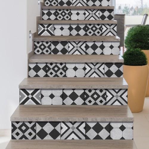 Sticker frise carreaux de ciment noir et gris pour contremarches d'escalier
