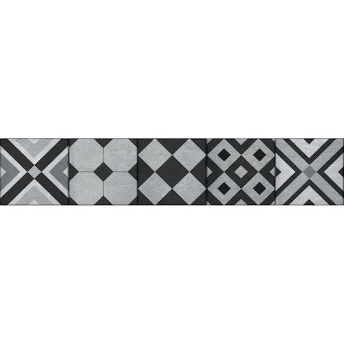 contremarches adhésives pour escalier avec motif géométriques