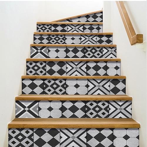 Sticker autocollant carreaux de ciment pour contremarches d'escalier géométrique