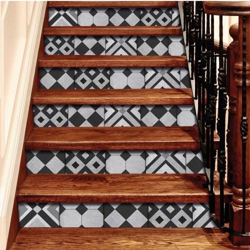 Contremarches adhésives carreaux de ciment géométrique en noir et gris