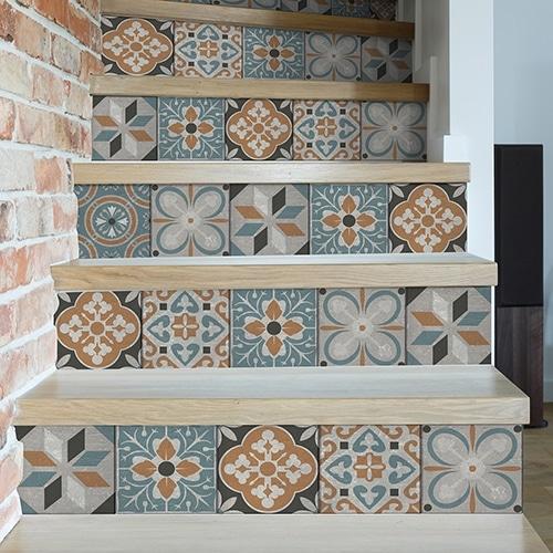 Sticker frise vert et orange pour contremarches d'escalier