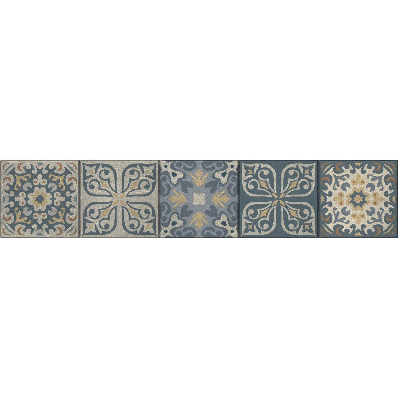 Sticker déco de contremarches d'escaleir avec carreaux de ciment jaune bleu et gris