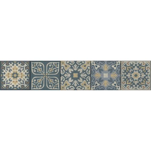 Stickers frise pour contremarches d'escalier stickers carreaux ciment bleu et jaune