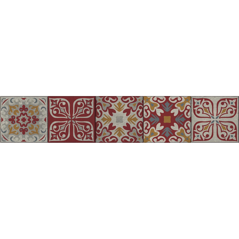 Sticker adhésif frise rouge et bleu pour contremarches d'escalier en bois moderne