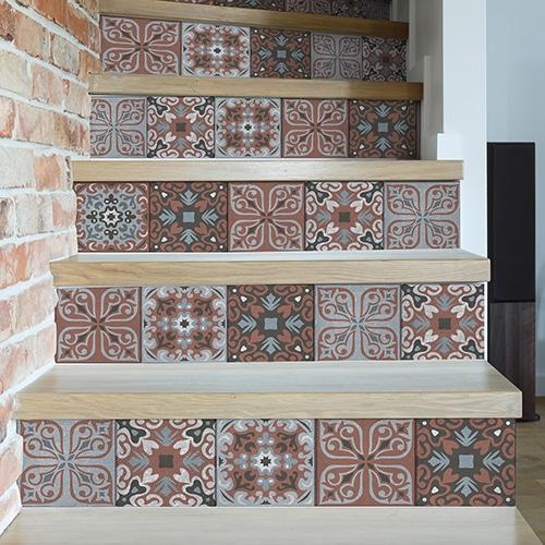 Sticker autocollant style carreaux de ciment pour contremarches d'escalier