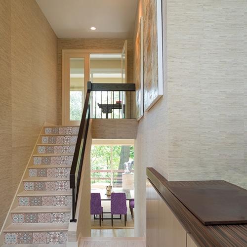 Sticker autocollant carreaux de ciment style vintage pour contremarches d'escalier en bois