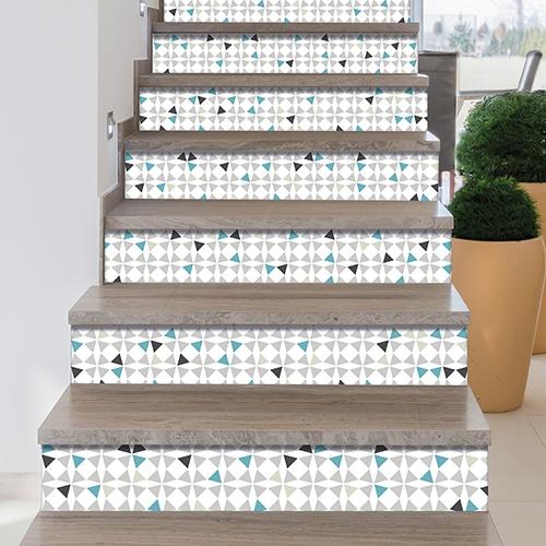 Sticker style mosaïque bleu vert et blanc pour contremarches d'escalier