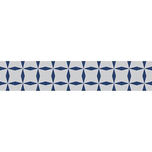 Sticker tendance bleu et blanc pour contremarches d'escalier clair