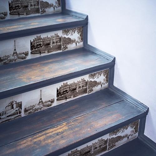 Sticker de la capitale française marron blanc pour contremarches d'escalier