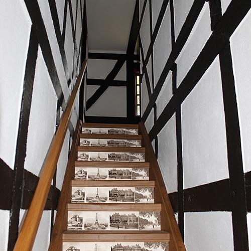 Sticker de la capitale française marron blanc pour contremarches d'escalier en bois