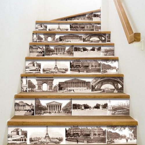 Sticker pour contremarches d'escaliers PARIS - Contremarches adhésive pour escaliers photos de Paris vintage