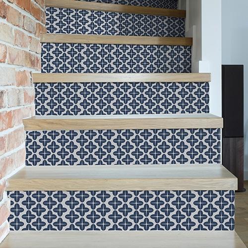 Sticker adhésif bleu tendance pour contremarches d'escalier
