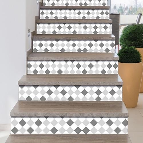 Sticker autocollant style mosaïque ton gris pour contremarches d'escalier
