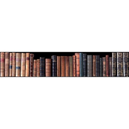Sticker bibliothèque pour contremarches d'escalier en bois gris