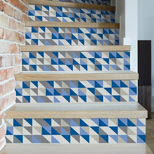Sticker tendance scandinave gris et bleu pour contremarches d'escaliers