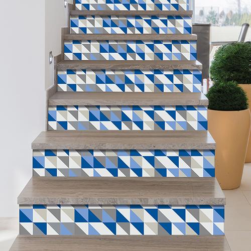 stickers pour contremarches d'escalier style scandinave bleu et gris