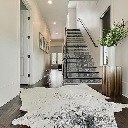 Sticker autocollant style mosaïque gris pour contremarches d'escalier moderne