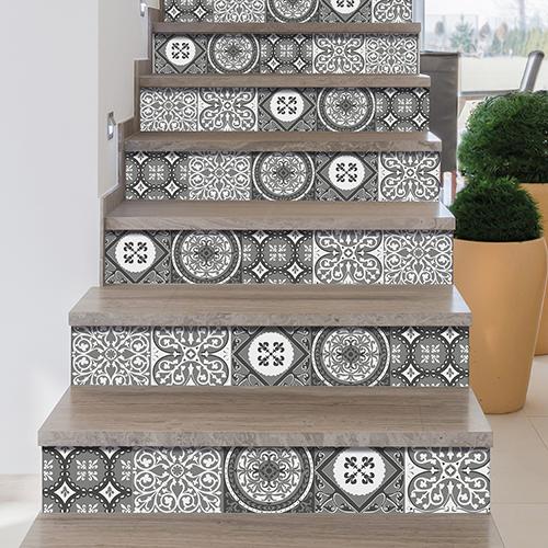 Déco d'escalier adhésive - stciekr contremarche carreaux de ciment pour escaliers